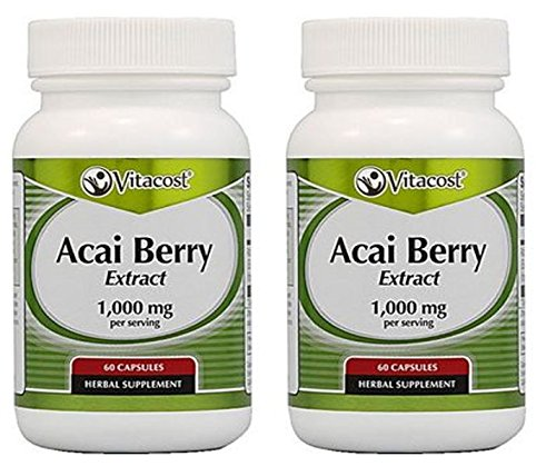 Acai Extract Brazilian Berry (Vitacost Acai Berry Extract -- 1,000 mg per serving - 60 Capsules)