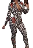 Abetteric Women Leopard Zipper Closure 2-Piece Slim Sweatsuit Set As Picture M