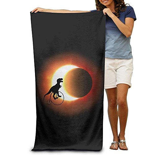 Dinosaur Bike On The Total Solar Eclipse Adults Cotton Beach Towel 31'' X 51'' by Best doormats