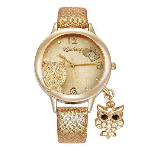 Cute Owl Pendant Rhinestone Leather Strap Mesh Pattern Band Quartz Women Girl Wrist Watch,Gold (Watch Gold Girls)