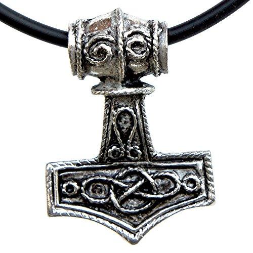 Lead Free Pewter Pendant (Celtic infinity knot Mjölnir Thor's Hammer Charm Amulet Silver Pewter Pendant (Black PVC Cord))