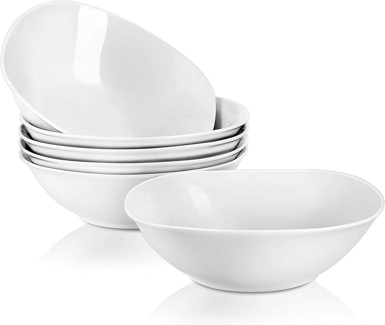 MALACASA serie Flora Ensalada Cuencos de Porcelana Juego de Vajilla 6pc Blanca Crema 10 y 8,5 y 7 Pulgadas Cuencos de Fuente de SopaTaz/ón y Cuenco de Cereal