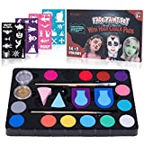 Frcolor Face Paint Kit for Kids – 40 Stencils, 16 Colors, 2 Brushes, 2 Sponges, 2 Hair Paint Tools – Body and Face Paint for Adults Halloween Party Makeup Body Paint Supplies