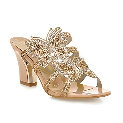 Chunky Heel Blue PU Mujer Ladies Dedo Zapatos Color Casual Primavera 39 pie del Round Sandalias Rhinestone Sandalias tamaño Gold Oro Rhinestone Verano Confort para del de xF0U5q5Ew8