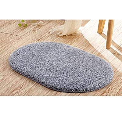 "Ladaidra Bath Mat, Non Slip Bottom Soft Comfortable Washable Cushion, 19.69"" x 11.81"", Grey"
