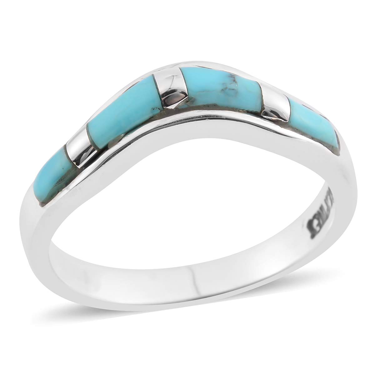 925 Sterling Silver Turquoise Band Gift Ring for Women Size 8