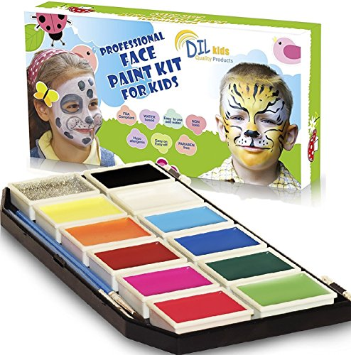 DIL Face Paint Kit for Kids - 11 Colors, Glitter, Brushes, Stencils - Painting Palette for fun-filled face designs - Nontoxic, Water-Based, Easy Application&Removal - DOUBLE BONUS Wipes & Online Guide (Zebra Face Paint Ideas For Halloween)