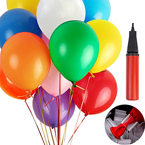 Coceca 220pcs 12 inches Assorted Color Party Balloons with Hand Held Air Pump and Balloon Clip