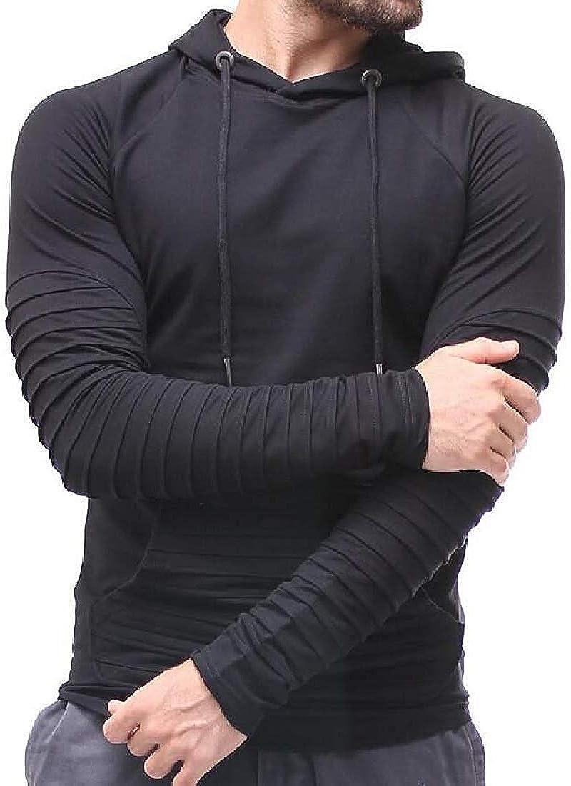 Mens Hoodie Solid Slim Ruched Pullover Sport Stripe Sweatshirt Top