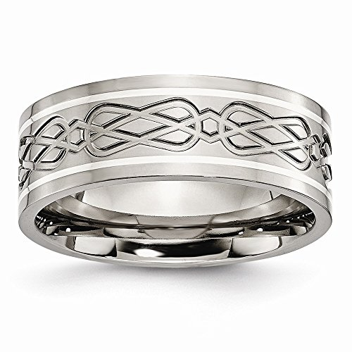 Titanium Sterling Silver Polished Flat Band Engravable Inlay SS Inlay Celtic Knot Flat 8mm Polish Band - Size 8