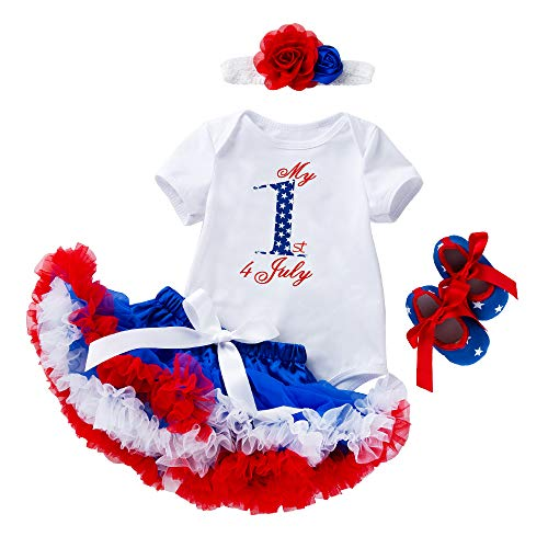 Amberetech 1st 4th of July Baby Girl Outfit Tutu Dress Party Costume Cotton Short Sleeve 4pcs Clothing Set (Style 6 - My 1st 4 July, 3-6 Months)]()