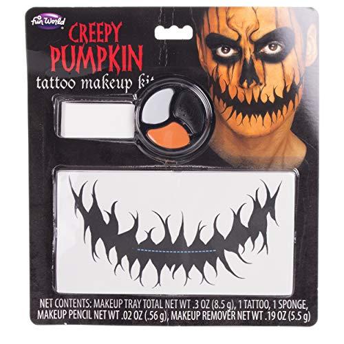 Fun World Freak Show Creepy Pumpkin Temporary Tattoo 5pc Makeup Kit, Orange Black