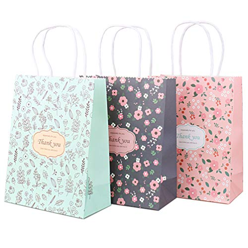 - Small Floral Bridesmaid Thank You Craft Paper Gift Bags with Handles, 6ct