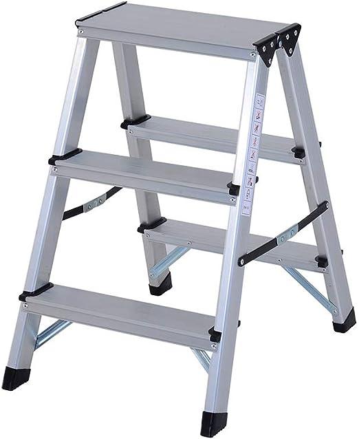 SHKY Escalera de Aluminio de Doble Cara Escalera Plegable doméstica Tipo A, Escalera Resistente a la corrosión 150 kg Carga de Doble Cara con tapetes Antideslizantes,3Step: Amazon.es: Hogar