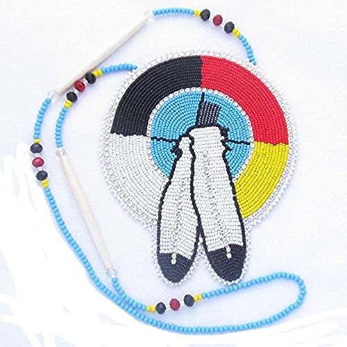 La Vivia Handmade Lovely Multi Color Native Feather Seed Beaded Medallion Necklace N-6-SB-198