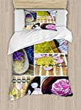 Ambesonne Spa Duvet Cover Set Twin Size, Spa Organic Cosmetics Theme Wooden Bowl Petals Lavender Candle Pebbles Therapy Oil, Decorative 2 Piece Bedding Set with 1 Pillow Sham, Purple Brown