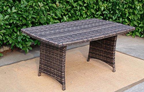 Baner Garden A106 Outdoor 1 Piece Rectangular Glass Rattan Pool Patio Dining Table, Dark Gray/Light Gray (Glasses A106)