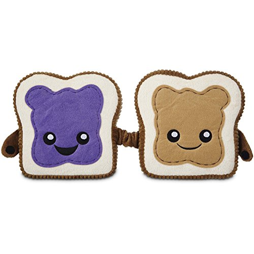 Leaps & Bounds Play Plush Peanut Butter and Jelly Dog Toy, 6.25