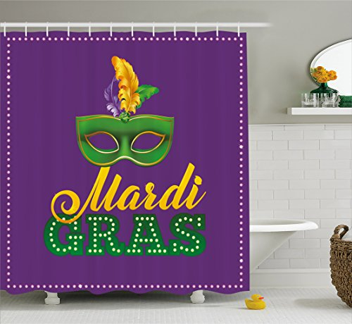 Mardi Gras Shower Curtain by Ambesonne, Green Mask with Colorful Feathers on Purple Backdrop Styled Calligraphy, Fabric Bathroom Decor Set with Hooks, 70 Inches, Purple Green Yellow