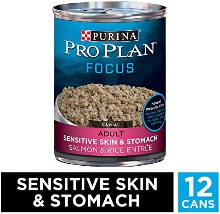 Purina Pro Plan Sensitive Stomach Pate Wet Dog Food, FOCUS Sensitive Skin & Stomach Salmon & Rice Entree - (12) 13 oz. Cans