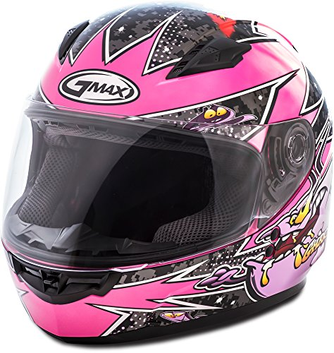 GMAX unisex-adult full-face-helmet-style Helmet (Gm49Y Youth Street Alien) (Pink/Purple, Youth Small) -