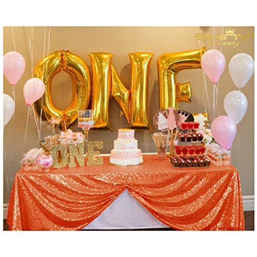 ShinyBeauty 60x102-Inch-Orange-Sequin Rectangular Tablecloth for Party Cake Dessert Table (Orange)]()