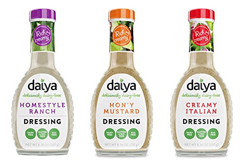 - Daiya Salad Dressing Variety Pack, Dairy Free :: Homestyle Ranch, Hon'y Mustard, Creamy Italian :: Vegan, Gluten Free, Soy Free, Egg Free, Non GMO, 8.36 Oz. (3 Pack)