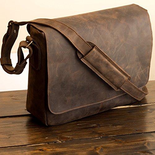 Pegai Premium Distressed Leather Messenger Bag, Distressed Leather Bag, Brown Messenger Bag, Warren - Chestnut Brown by Pegai