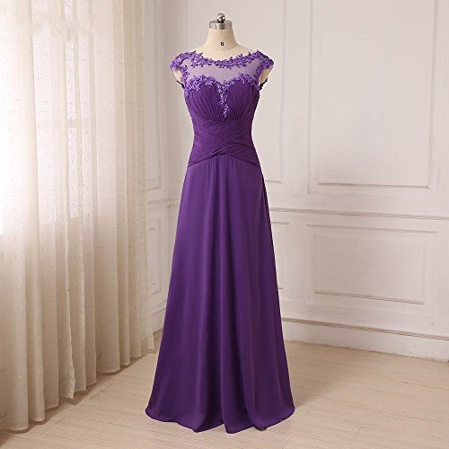 Vintage Jewel Neck Chiffon Evening Formal Dresses with Applique