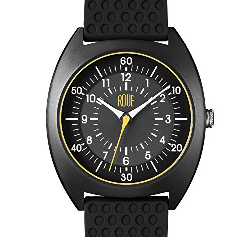 ROUE HDS Two Watch, 1980s German Industrial Design Style, 41.5mm Black Blasted Stainless Steel case, Silicone + Nylon front/leather back Straps, Sapphire Crystal with anti-reflective treatment - Mvmt Glasses