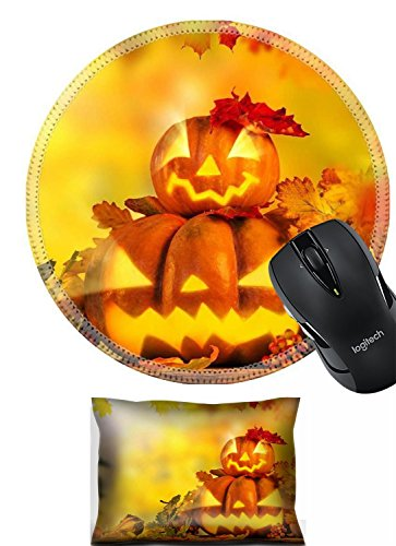 Liili Mouse Mouse Wrist Rest and Round Mousepad Set, 2pc Wrist Support IMAGE ID 32239153 Scary jack o lantern halloween background close up