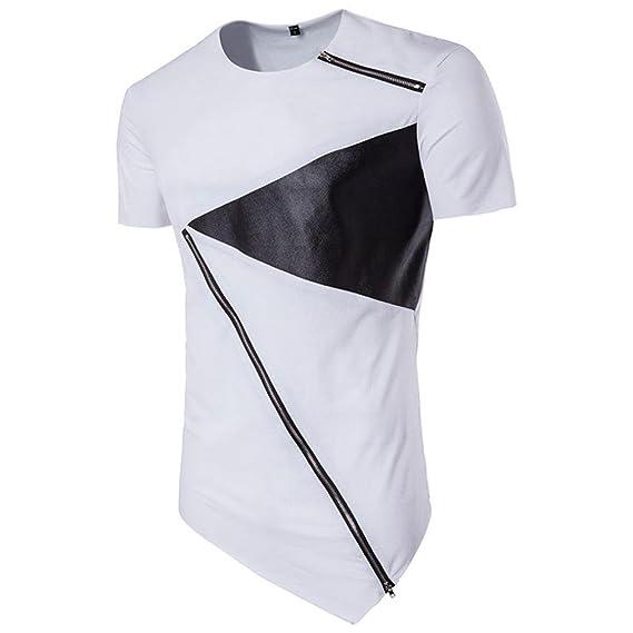 Camiseta para Hombre, ❤️Xinan Camiseta de Manga Corta de algodón Irregular para Hombre Blusa de Corte Slim de Cobertura: Amazon.es: Ropa y accesorios