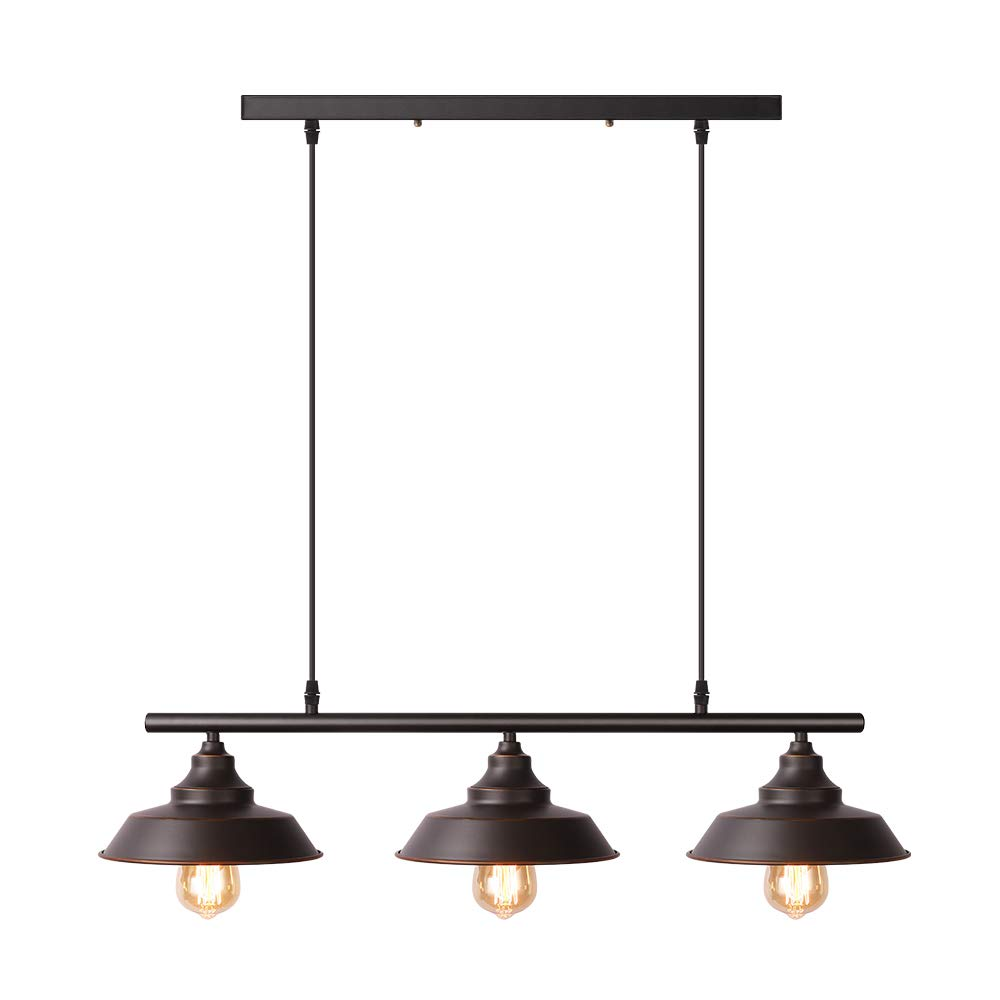 Black Pendant Lighting Kitchen Island Light Baking Paint Finish with Highlights Rustic Lighting Modern Industrial Chandelier