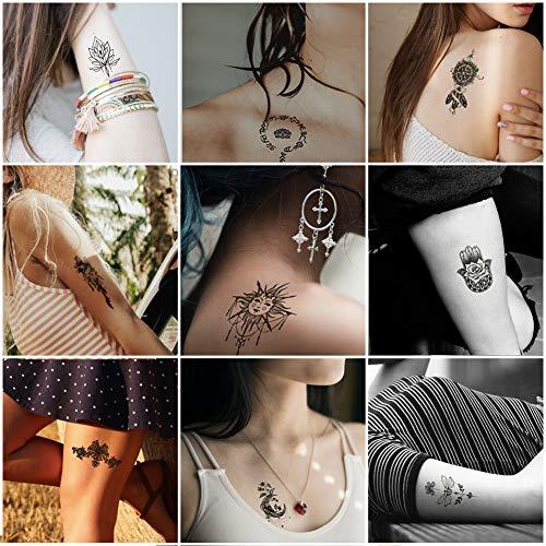 Everjoy India Mehndi Temporary Tattoos - 24 pcs, Mandala, Henna, Sanskrit, Lotus, Magic, Tribal, Religious for women, men, kids, boys and girls]()
