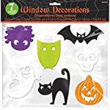 Halloween Trick or Treat Part Window Clings Decoration, Silicone Gel, Pack of 7 clings