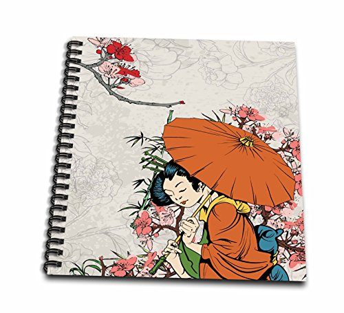 3dRose Lovely Japanese Geisha with Umbrella and Sakura Cherry Blossom Flowers Asian Oriental Illustration-Drawing Book, 8 by 8-inch (db_119153_1)