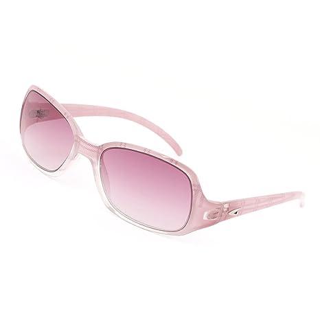 Griglia di stampa rosa chiaro cerchiata unico ponte di pendenza occhiali da sole lenti per le donne sqvoV