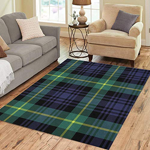Pinbeam Area Rug Green Abstract Gordon Tartan Plaid Pattern Blue Black Home Decor Floor Rug 5' x 7' Carpet