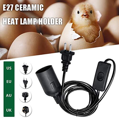 JohnnyBui - Smuxi E27 AC 250V Infrared Ceramic Heat Emitter Lamp Holder Bulb Adapter US/UK/EU/AU For Reptile Pet Brooder Heat Lamp ()