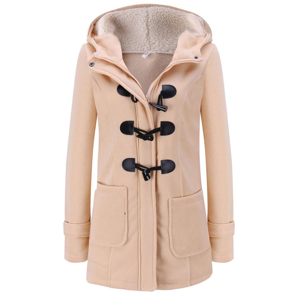 WUAI-Women Hooded Coat Winter Warm Slim Fit Oversized Horn Leather Buckle Overcoat Jacket(Khaki,XXXXX-Large by WUAI-Women