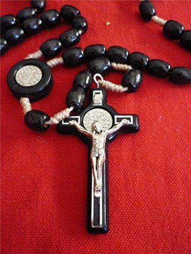 Black Wood Beads Saint Benedict Rosary Holy Land Necklace Medal Handmade Jerusalem ()