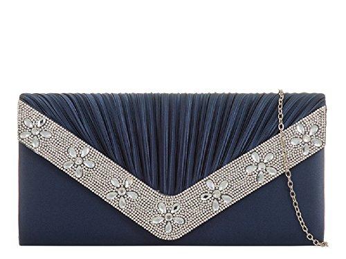 Bag Envelope Diamante Party Clutch Ladies Handbag Floral Satin Navy Bag Women's KH839 Evening Hn4n8tx