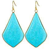 rockcloud Crystal Stone Dangle Earrings Gold Plated, Rhombus Shape, Blue Howlite Turquoise