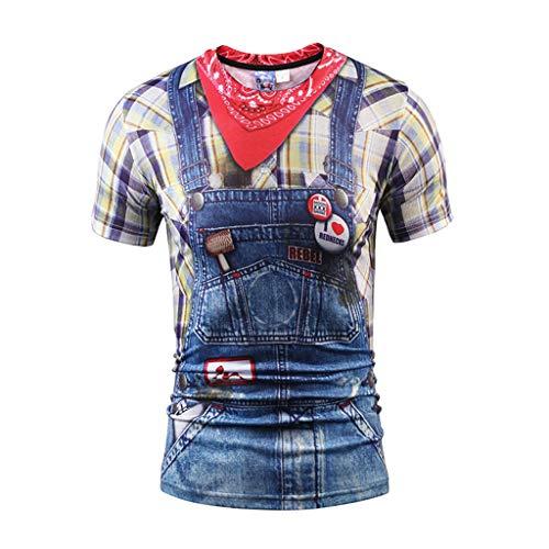 Sagton Men's Western Cowboy Costume T-Shirts Crew Neck Short Sleeve Casual Top Blue ()