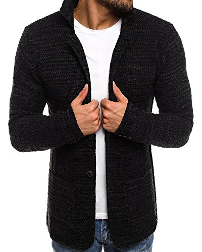Collar Tunic Cardigan (EastLife Mens Cardigans Sweaters Open Front Cable Knit Long Sleeve Shawl Collar Button up Coat with Pockets)