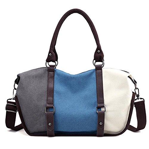 Aoligei Capacité couleur grande collision oblique loisirs cross sac main sacs mode rétro toile coutures arc-en-ciel sac A
