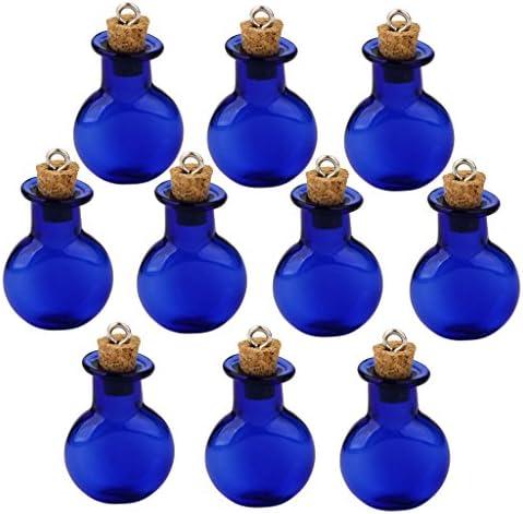 【ノーブランド品】ガラス製 ミニボトル コルク栓付 ペンダントチャーム 平底フラスコ型 B (ブルー) 10個