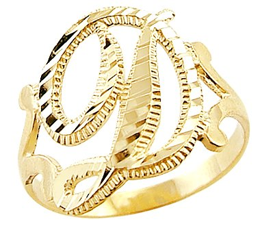 Amazon.com: 14k Yellow Gold Initial Letter Ring