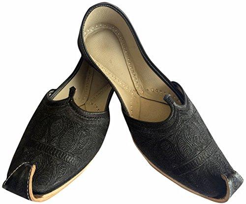 Étape N Style Hommes Plat Complet Noir Zari Khussa Chaussures Style Pakistanais Punjabi Jutti