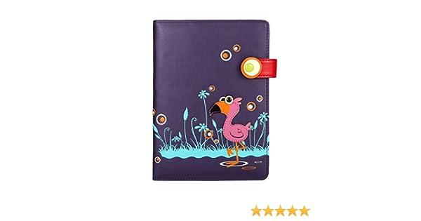 menkai Mujer Bordado fllamingo Notebook Cover Estilo Piel Sintética portátil. Original Diary Case para niñas. De Moda 765 N1